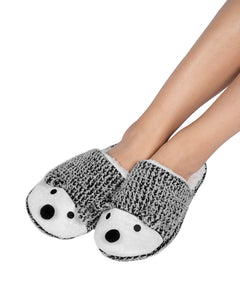 Coffee Shoppe Critter Slide Slipper with hard-bottom sole - Hedgehog