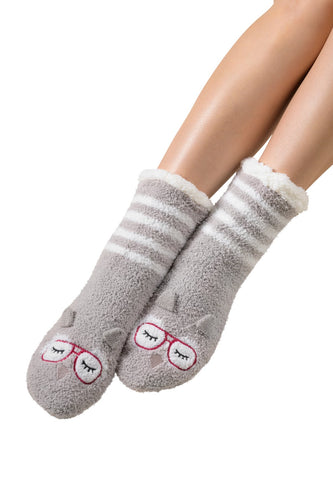 Coffee Shoppe Marshmallow Hipster Critter Lounge Socks - Owl