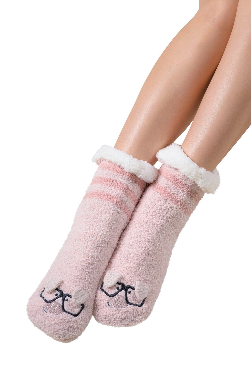 Coffee Shoppe Marshmallow Hipster Critter Lounge Socks - Pig