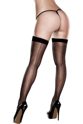 Silicone Stay-Up Sheer Thigh Highs with Backseam 2036 - Black