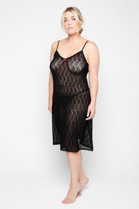 Lace Negligee with Spaghetti Straps 791649130 - Black