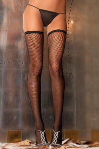 Fishnet Stay-up Thigh Highs 8010 - Black