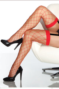 Fence Net Thigh High Stockings 1769 - Red