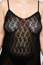 Load image into Gallery viewer, Lace Negligee with Spaghetti Straps 791649130 - Black