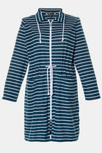 Load image into Gallery viewer, Two Tone Stripe Terry Zip Front Bathrobe 74880874 - Dark Petrol