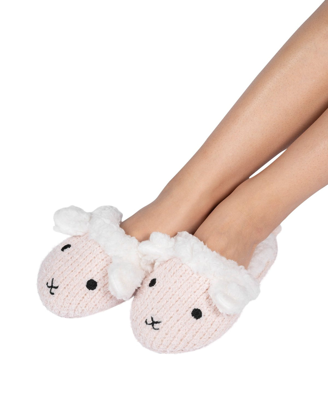 Coffee Shoppe Critter Slide Slipper with hard-bottom sole - Lamb