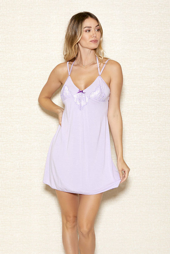 Lilac Modal Chemise with Lace Detail