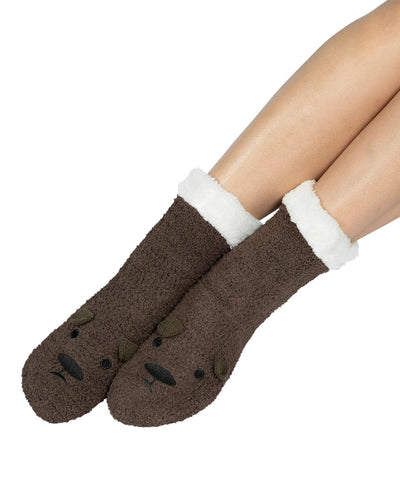 Coffee Shoppe Marshmallow Critter Lounge Socks - Bear