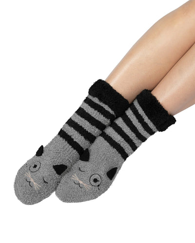 Coffee Shoppe Marshmallow Critter Lounge Socks - Cat