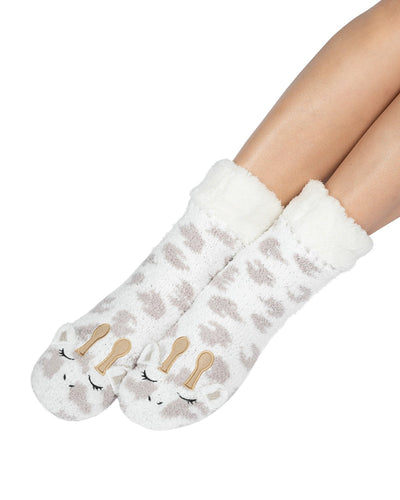 Coffee Shoppe Marshmallow Critter Lounge Socks - Giraffe