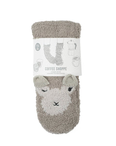 Coffee Shoppe Marshmallow Critter Lounge Socks - Llama