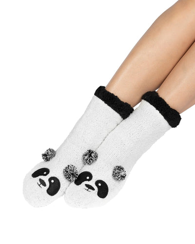 Coffee Shoppe Marshmallow Critter Lounge Socks - Panda