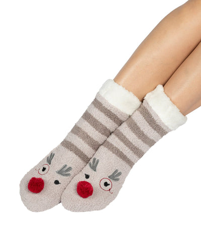 Coffee Shoppe Marshmallow Critter Lounge Socks - Rudolph