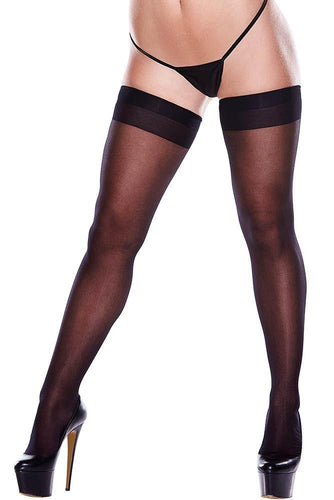 Stay-Up Thigh Highs with Back Seam 1376- Black