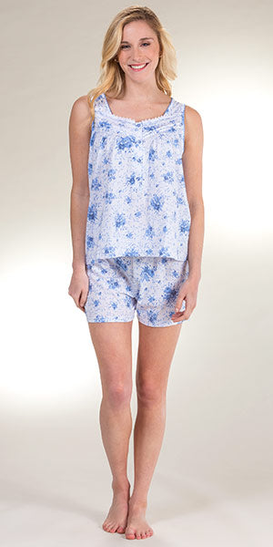 Cotton Poly Knit Sleeveless Top & Shorts Pajamas 1576 - White with blue floral