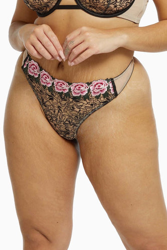 Katy Rose Embroidered Thong PPT3182 - Cream & Black