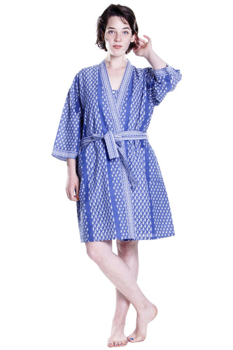 100% Cotton Printed Robe 1013F - Blue