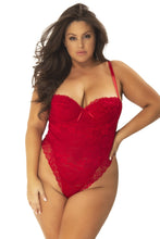 Load image into Gallery viewer, High Leg Lace Teddy 51-10979 - Red