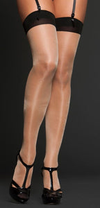 Sheer Contrast Thigh Highs 8602 - Nude with Black
