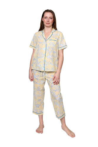 100% Cotton Floral Print Pyjamas 1467 - Yellow/Blue
