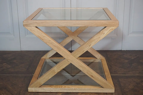 CAMBRIDGE GLASS CROSS SIDE TABLE - SMALL - IN STORE CLOSING DOWN SALE NOW $299 !