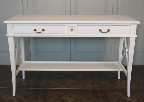 AVIGNON 2 DRAWER CROSS CONSOLE VILLA WHITE - CLOSING DOWN PRICE - WAS $799 !