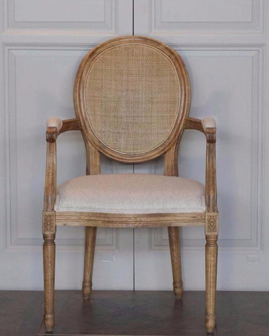 AVIGNON CANE ROUND ARMCHAIR LOUIS XVI STYLE - IN STORE CLOSING DOWN CLEARANCE now $400 !