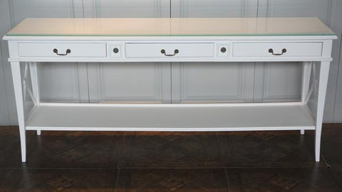 AVIGNON 3 DRAWER CROSS CONSOLE VILLA WHITE - CLOSING DOWN PRICE - WAS $1199
