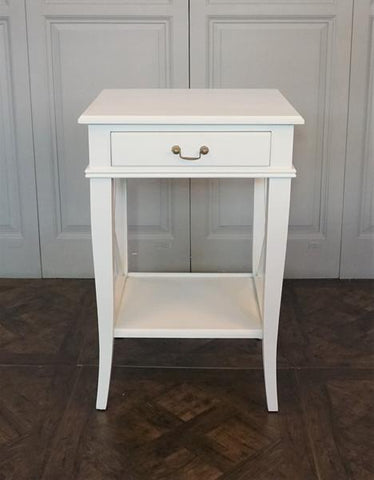 AVIGNON CROSS 1 DRAWER SIDE TABLE VILLA WHITE - CLOSING DOWN PRICE - WAS $499