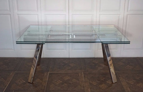 MANHATTAN STAINLESS STEEL & GLASS DINING TABLE