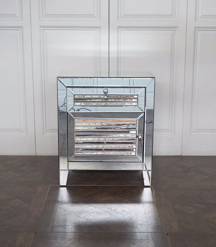 CHELSEA MIRRORED LOUVRE SIDE TABLE