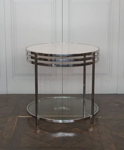 CAMBRIDGE MARBLE ROUND SIDE TABLE - WAS $799