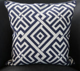 Navy Blue Pattern Cotton Cushion - CLOSING DOWN PRICE - WAS $89