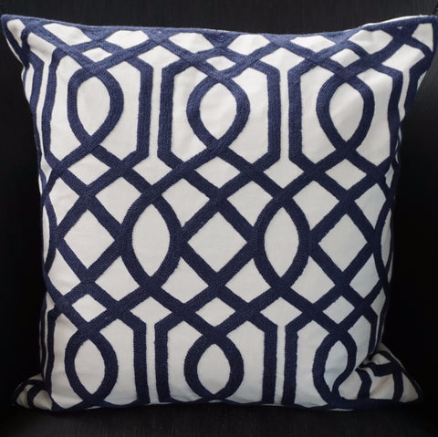 Navy Blue Pattern Cotton Cushion
