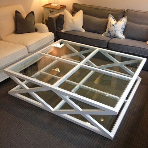 CAMBRIDGE GLASS CROSS COFFEE TABLE - LARGE
