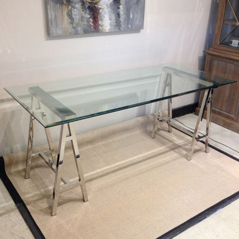 CAMBRIDGE STAINLESS STEEL & GLASS DESK/TABLE