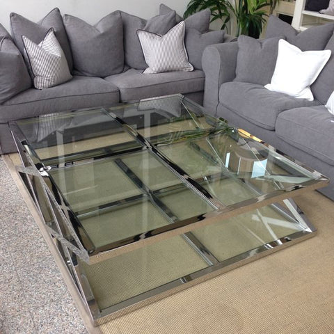 CAMBRIDGE GLASS CROSS STAINLES STEEL COFFEE TABLE   LARGE