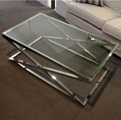 CAMBRIDGE GLASS CROSS STAINLESS STEEL COFFEE TABLE - SMALL