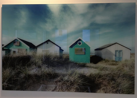"""Beach huts"" tempered glass photography"