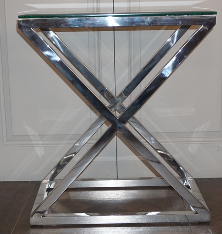 CAMBRIDGE GLASS CROSS STAINLESS STEEL SIDE TABLE - TALL