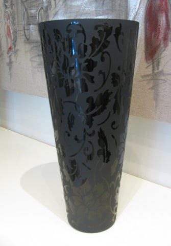 Large Black Glass Vase