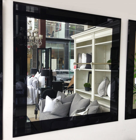 Square Bevelled Edge Mirror with Black Border