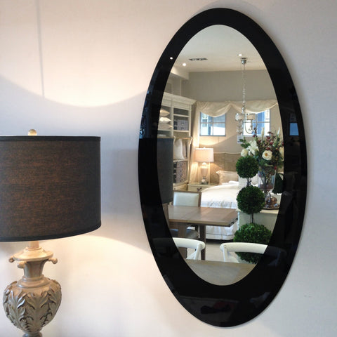 Oval Bevelled Edge Mirror with Black Border