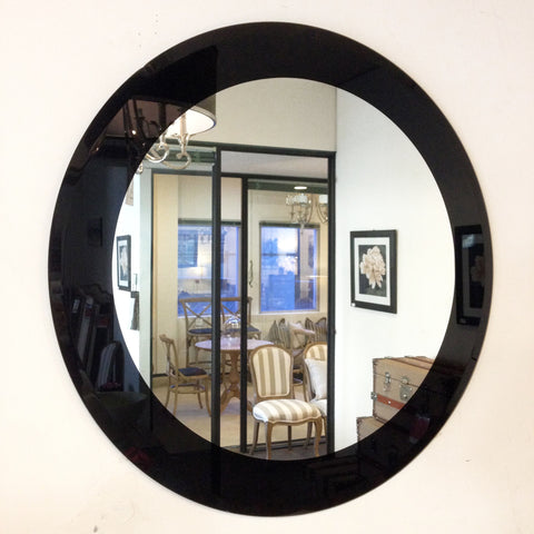 Round Bevelled Edge Mirror with Black Border - CLOSING DOWN PRICE - WAS $179