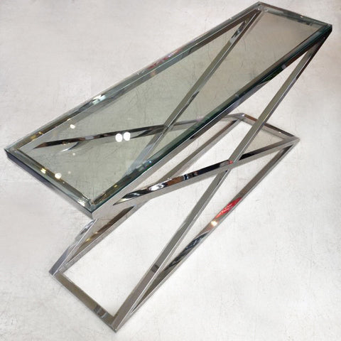 CAMBRIDGE GLASS CROSS STAINLESS STEEL CONSOLE
