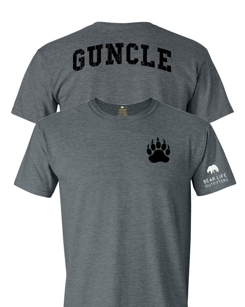 Left Chest Paw Guncle on Back T-shirt by Bear Life Outfitters
