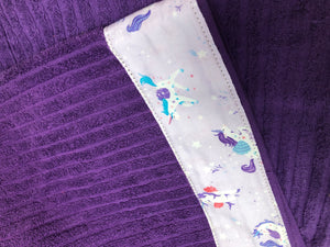 Hooded Towel - Dark Purple with Unicorns