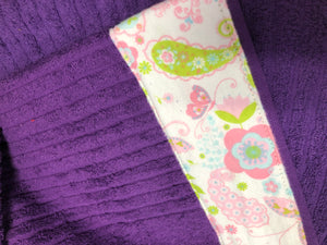 Hooded Towel - Dark Purple with Paisley