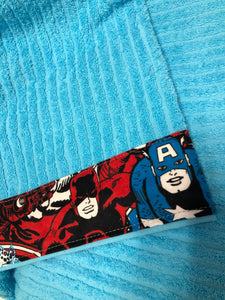 Hooded Towel - Baby blue with Avengers