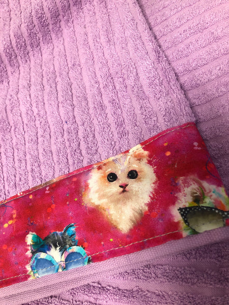 Hooded Towel - Light Purple with Kittens